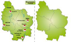 Stock Illustration of map of burgundy with borders in green