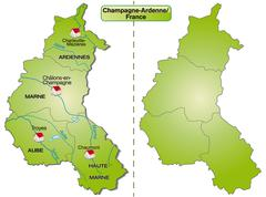 map of champagne-ardenne with borders in green - stock illustration