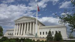 Sun slowly warms front Supreme Court Building, DC  Stock Footage