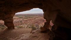 Canyonlands National Park Anasazi Ruin Cliff Dwelling Panning Shot Stock Footage
