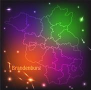 Stock Illustration of map of brandenburg with borders with bright colors