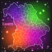 Stock Illustration of map of bavaria with borders with bright colors