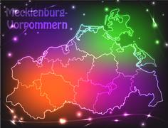 Stock Illustration of map of mecklenburg-western pomerania with borders with bright colors