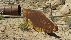 Uranium Badlands Ghost Town Relics Old Ironing Board Stock Footage