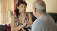 Father and daughter have a discussion with violence: slap, fight, cry, rage Stock Footage