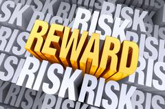 reward rises from risk - stock illustration