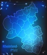 Stock Illustration of map of rhineland-palatinate with borders with bright colors