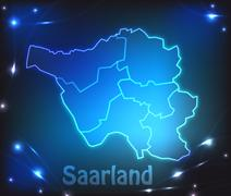 Map of saarland with borders with bright colors Stock Illustration