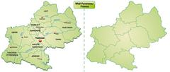 map of midi-pyrenees with borders in pastel green - stock illustration