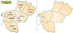 map of pays de la loire with borders in pastel orange - stock illustration