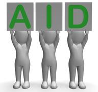 Aid banners shows first aid assistance and support Stock Illustration