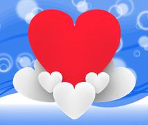 Stock Illustration of heart on heart clouds shows romantic imagination and dreams