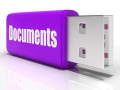 Stock Illustration of documents pen drive shows digital information and files