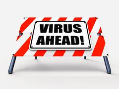Virus ahead indicates viruses and future malicious damage Stock Illustration