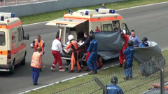 Stock Video Footage of Driver health transport after car crash at GT Masters race