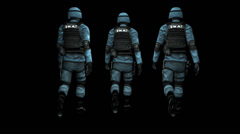 Swat Team - Animated 3D Models With Alpha Channel Stock Footage