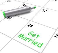 get married calendar means wedding day and vows - stock illustration
