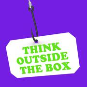 Stock Illustration of think outside the box on hook shows imagination and creativity