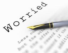 worried word means afraid troubled or concerned - stock illustration