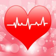 Electro on heart shows beating heart or heartbeat Stock Illustration