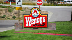 Wendy's Restaurant Sign 01 HD Stock Footage