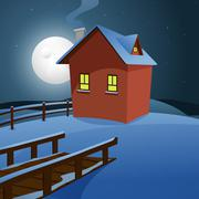 House in the snow - stock illustration