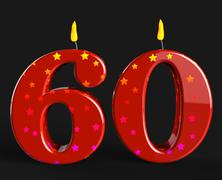 Stock Illustration of number sixty candles show elderly birthday or birth anniversary
