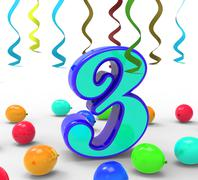 Number three party means colourful decorations and adornments Stock Illustration