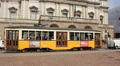 Milan: tram in front of La Scala Footage