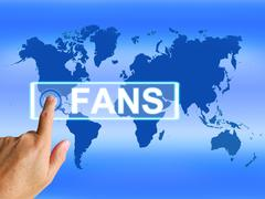 fans map shows worldwide or international followers or admirers - stock illustration