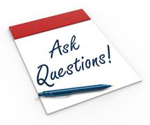 Ask questions! notebook means interrogatory or investigation Stock Illustration