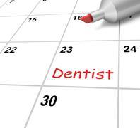Hammaslääkäri kalenteri tarkoittaa hampaiden ja hampaiden lääkärintarkastus Piirros