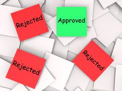Approved rejected post-it notes means approval or rejection Stock Illustration
