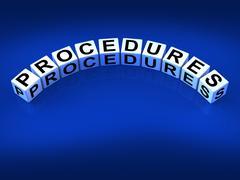 procedures blocks represent strategic process and steps - stock illustration