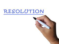 Resolution word shows answer solution or settlement Stock Illustration