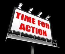 Stock Illustration of time for action sign shows urgency rush to act now