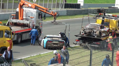 Stock Video Footage of Car Crash transport at GT Masters race