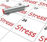 Stress calendar means pressured tense and anxious Stock Illustration
