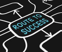 Route to success diagram shows path for achievement Stock Illustration