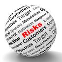 Stock Illustration of risks sphere definition shows insecurity and financial risks