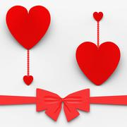 Stock Illustration of two hearts with bow mean loving celebration or decoration