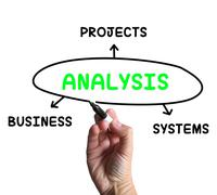Analysis diagram shows investigating business systems and projects Stock Illustration