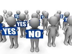 Characters holding yes no signs mean uncertain decisions Stock Illustration