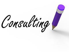 Consulting with pencil represents written consultation and advice Stock Illustration