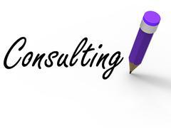 Konsultointi lyijykynällä edustaa kirjallinen kuuleminen ja neuvoja Piirros