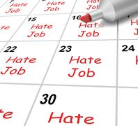 hate job calendar shows loathing work and workplace - stock illustration