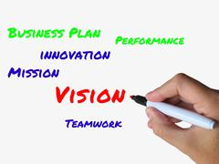 vision on whiteboard means ingenuity visionary and goals - stock illustration