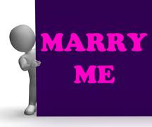 Marry me sign means romance and marriage Stock Illustration