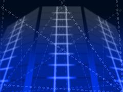Blue binary circuit background means digital communication or cyberspace Stock Illustration