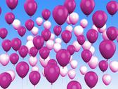 Stock Illustration of floating purple and white balloons show girly birthday party